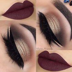 Gold Smokey Eye Dark Plum Lips Christmas Makeup