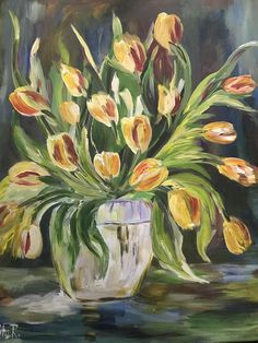 Yellow Orange Tulips - Flowers, Handmade Acrylic Painting On Stretched Canvas Fantasy Paintings, Landscape Paintings, Watercolor Paintings, Flower Paintings, Tulips Flowers, Spring Flowers, Tulip Painting, Acrylic Painting Techniques, Canvas Artwork