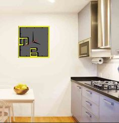 3d Mirror, Mirror Stickers, How To Make Wall Clock, Uk Homes, Yellow Black, Color Yellow, Kitchen Cabinets, Quartz, Wall Decorations
