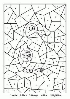 color by number penguin coloring page for kids education coloring pages printables free wuppsy - Number Coloring Pages For Kids Printable