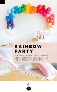 Wie ihr am besten eine Rainbow Party feiert? Hier findet ihr wertvolle Tipps, Deko-Ideen, Spielideen und tolle Freebies für einen unvergesslichen Kindergeburtstag oder eine Baby Party! Party Box, Baby Party, Happy Birthday, Freebies, Partys, Diy, Balloon Pump, Unicorn Party, Game Ideas