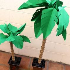 Paper palm trees make for perfect summer decor.