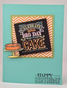 Stampin' Up! Big Day Saleabration Stamp Set Embossed chalkboard blendabilities birthday