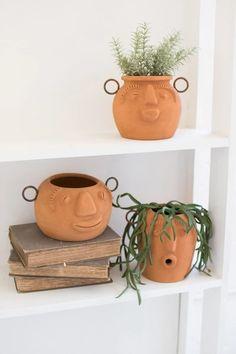 Pottery Pots, Ceramic Pottery, Ceramic Art, Ceramic Decor, Pottery Barn, Face Planters, Ceramic Planters, Clay Planter, Succulent Planters