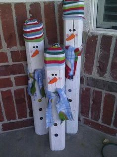 Up cycled wood snowmen