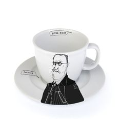 "SIGMUND, the psychoanalyst.... coffee cup with witty black and white drawing....  PolonaPolona, cups with personality....   Sigmund, the psychoanalyst owner of the worlds most famous sofa, has well analysed id, ego and super ego, loves his mother with a force of antique hero, avid interpret of dreams. Sigmund says : ""kaffee macht freudig"" (which is german for: ""coffee makes one joyful"" and also a great pun )"