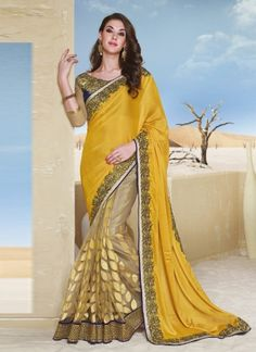 Glorious Golden With Brown Designer Wedding Saree