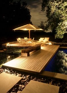 Garden design with deck and lighting