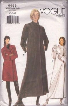 MOMSPatterns Vintage Sewing Patterns - Vogue 9953 Retro 90's Sewing Pattern MUST SEE Winter Princess Wrap Asymmetric Frock Coat, Evening Coat, Jacket Set Size XS-S