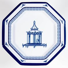 "Salad plate - Stunning 8"" octagon with beautiful pagoda center"