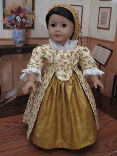 1770s Sacque Back Gown for 18 Doll by blinkersoh on Etsy