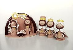 Keramika Pavla Chapčáková - Betlém Christmas Clay, Xmas, Wood Peg Dolls, The Birth Of Christ, Girls Together, Christian Christmas, Clay Crafts, Coloring Books, Baby Shoes