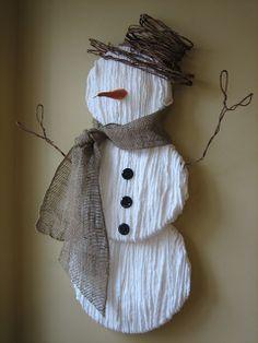 Snowman Tutorial - yarn wrap on styrofoam discs (at myownlittleplayground blog)
