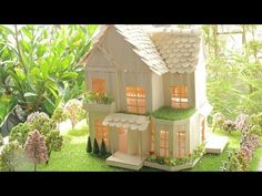 Buiding a Small and Beautiful House by using Popsicle Stick - Popsicle Garden Villa Popsicle Stick Crafts House, Popsicle Sticks, Craft Stick Crafts, Ice Cream Stick Craft, Handmade Birthday Gifts, House Lamp, Lollipop Sticks, House Drawing, Miniature Houses