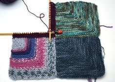 Detailed directions for knitting a mitered-square blanket.                                                                                                                                                                                 More