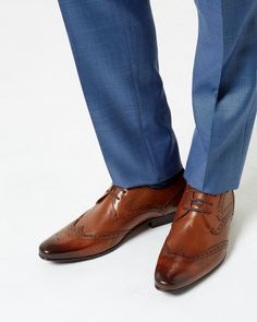 Leather derby brogue - Tan | Shoes | Ted Baker UK