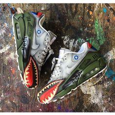 Nike Airmax 90 x Customs Nike Air Force 1, Nike Air Max, Custom Sneakers, Custom Shoes, Nike Airmax 90, Air Max Sneakers, Shoes Sneakers, Green Sneakers, Nike Free Run