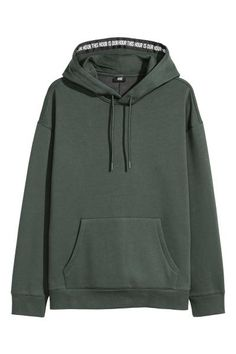 Dropped-shoulder hooded top - Dark green - | H&M GB 2