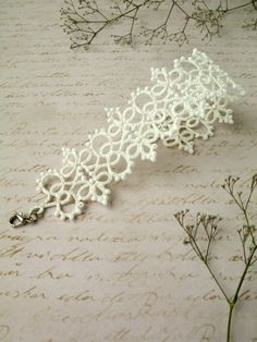 Woman bracelet Tatting lace bracelet Gift by BardarSvetlanaLace