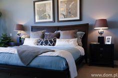 Aranżacja dużej sypialni w niebieskich odcieniach