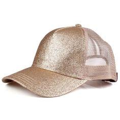 d4e5d4a2ce0 Gold Glitter cc ponytail baseball cap Boutique