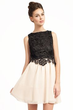 Little Mistress Black And Cream Lace Overlay 2 in 1 Dress