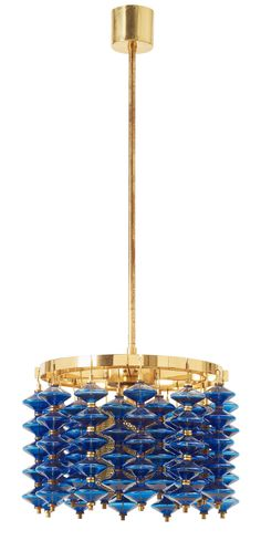 A Hans-Agne Jakobsson brass and blue glass ceiling lamp, Markaryd, Sweden 1960's-70's.  Model T 581/H.