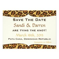 Save the date Leopard Print Wedding Invites