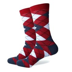 Men's Colorful Argyle Socks - Red  We offer premium, fun, all-around, colorful Argyle, Polka Dot, Pattern, Stripe, and Crew socks suitable for all occasions and