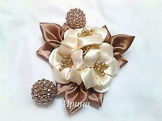 Items similar to Modern Tumami Kanzashi (MTK) Brooch / Hai Diy Lace Ribbon Flowers, Cloth Flowers, Kanzashi Flowers, Ribbon Art, Fabric Ribbon, Ribbon Crafts, Flower Crafts, Fabric Flowers, Ribbon Rose