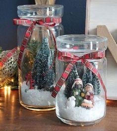 Turn any glass jar into a winter scene. Love these snowglobes! Mason Jar Christmas Crafts, Homemade Christmas Gifts, Christmas Centerpieces, Xmas Crafts, Rustic Christmas, Christmas Projects, Simple Christmas, Christmas Holidays, Christmas Decorations