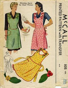 SLIMMING Apron Pattern McCALL 1105 Classic Kitchen Apron Includes Applique Transfers Bust Vintage Sewing Pattern-Authentic vintage sewing patterns: This is a fabulous original dress making pattern, not a copy. Because the sewing patte Vintage Apron Pattern, Aprons Vintage, Vintage Sewing Patterns, Retro Apron Patterns, Dress Patterns, Dot Patterns, Clothes Patterns, Sewing Aprons, Dress Sewing