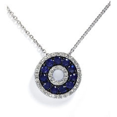 Effy Collection 14kt. White Gold Sapphire & Diamond Pendant ($725) ❤ liked on Polyvore