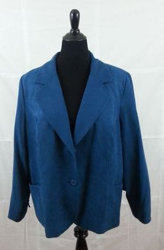 WOMENS LONG SLEEVE SIZE 20 TURQUOISE BLUE SOLID JACKET DRESS PROFESSIONAL CASUAL #dressbarn #Casual