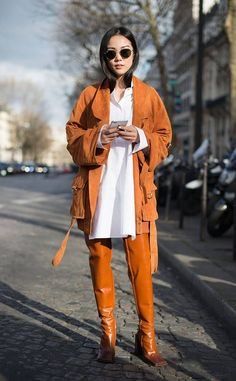 Yoyo Cao from Best Street Style From Paris Fashion Week Fall 2017 Tip: A white shirt can class up just about any outfit.