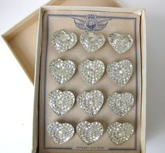 HEART~Vintage Glass Buttons Mirrored Hearts