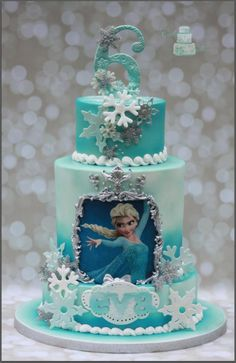 Frozen Birthday Cake for Children's. Frozen Themed Birthday Cake, Frozen Theme Cake, Frozen Birthday Cake, Birthday Cake Girls, Themed Cakes, Elsa Birthday, Birthday Cupcakes, 10th Birthday, Birthday Ideas