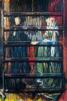 Jose Gomez •LIBRERO FLAMENCO: (Matrimonio Arnolfini, Van Eyck), Oleo/Lienzo 120 x 80 m