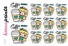 A667 | COFFEE Break stickers - Keenari Repositionable stickers, coffee stickers, frappe stickers, starbucks stickers, emotions stickers