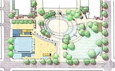 The oval part of the  plaza is designed to accommodate academic events and ceremonies. Multiple paths and an open lawn along Locust Street i...