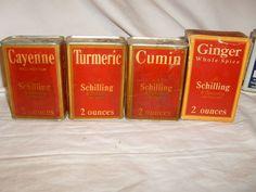 Vintage A Schilling & Co. San Francisco Set of 4 cardboard Spice Tins, Ben-Hur #ASchillingBenHur