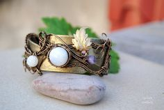 Moonstone and Amethyst wire wrapped wrist cuff  OOAK by Ianira, €48.00