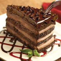 18 wwp+ Olive Garden: Triple Chocolate Strata  Classic Italian chocolate torta layered with creamy mousse and topped with dark chocolate ganache.