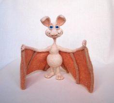 Graham The Bat. Needle Felted Bat, Wool Soft Sculpture, Needle felted animals. $40.00, via Etsy.