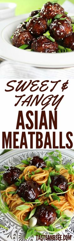 Sweet And Tangy Asian Meatballs - with onion, ginger, green onions, soy, Gochujang, and more. Jam-packed with flavor and so easy to make! http://tasteandsee.com