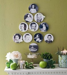 Start with baby photographs; cut them in a circle, mount on foam core, and arrange in any shape. Little space, big impact.
