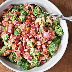 Cold brocoli salad with golden raisins, pine nuts, and bacon