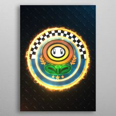 flower Cup Emblem detailed, premium quality, magnet mounted prints on metal designed by talented artists. Our posters will make your wall come to life. Poster Prints, Art Prints, Print Artist, Cool Artwork, 3d Printing, Metal, Mario Kart, Flowers, Belts