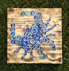 "Beer/Bottle Caps Blue Crab on wood, 12"" x 12"", signed original, ready to hang"