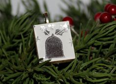 Holiday bell on scrabble tile pendant
